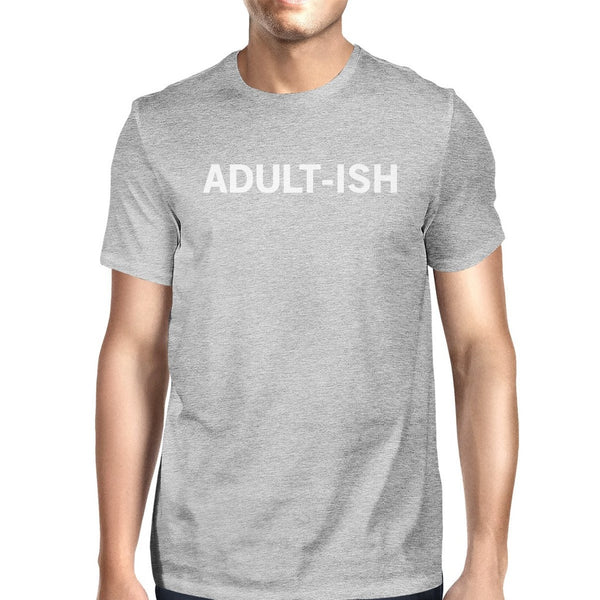 Adult-ish Man's Heather Grey Top Funny Graphic Printed Crewneck Tee