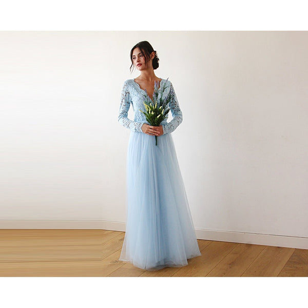 33257d96f5c Light Blue Tulle and Lace Long Sleeve Wedding Maxi Dress 1125