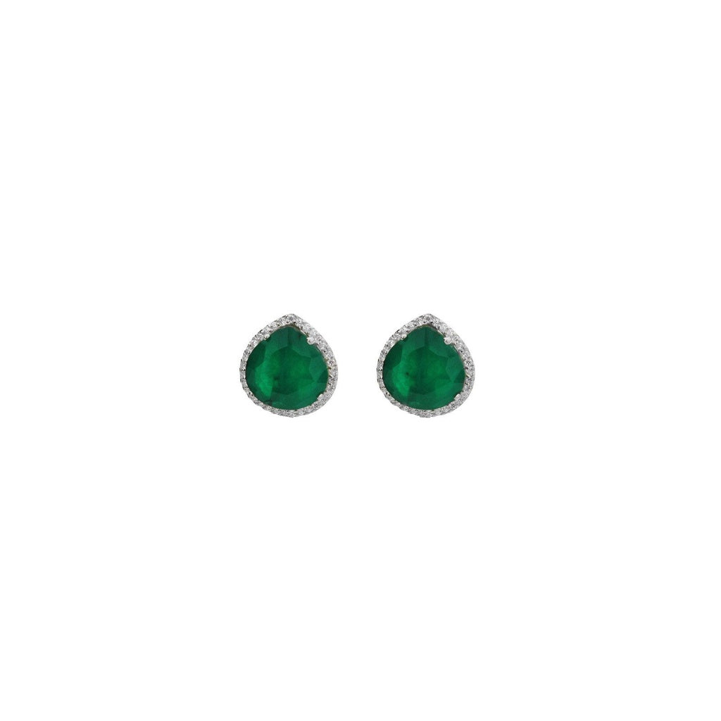 Almond Emerald & CZ Stud Earrings in Rhodium Plated Sterling Silver