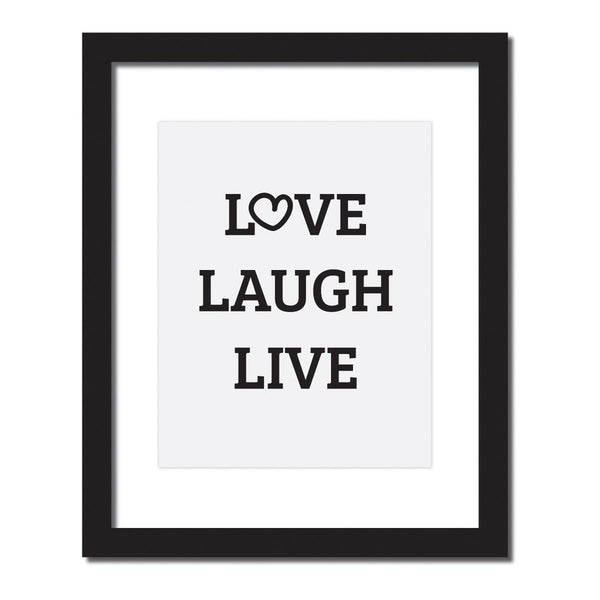 Inspirational quote print 'Love, Laugh, Live'