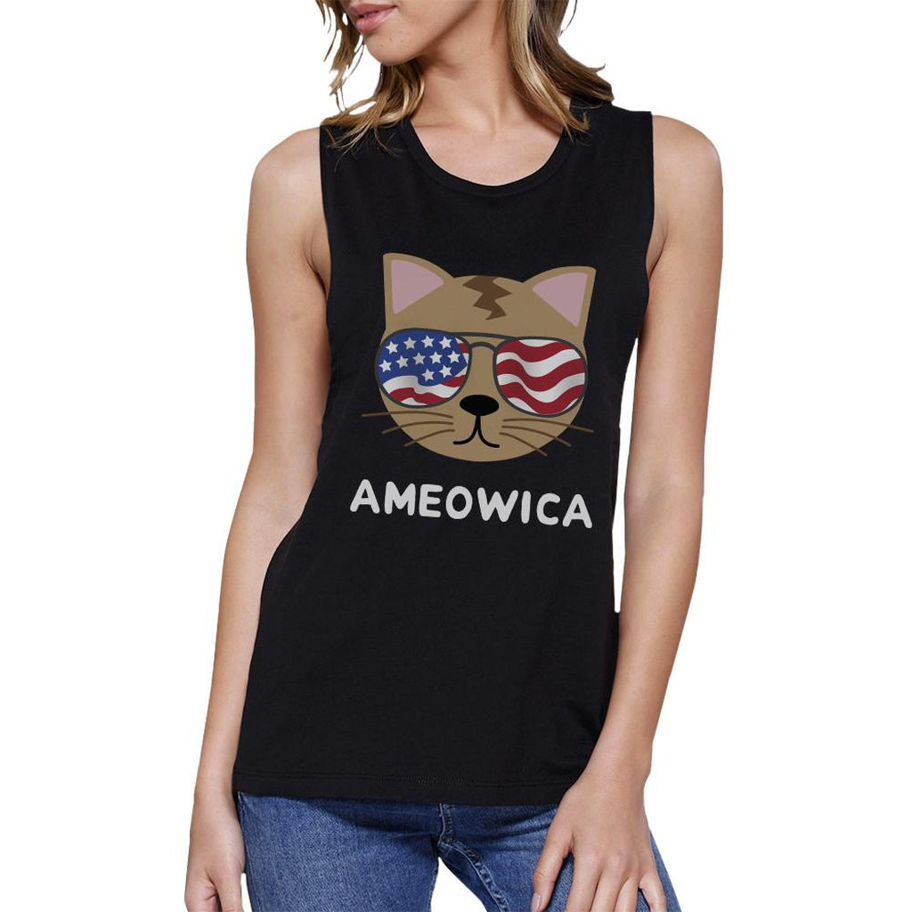 Ameowica Womens Black Graphic Muscle Top Cute Cate Design Tanks