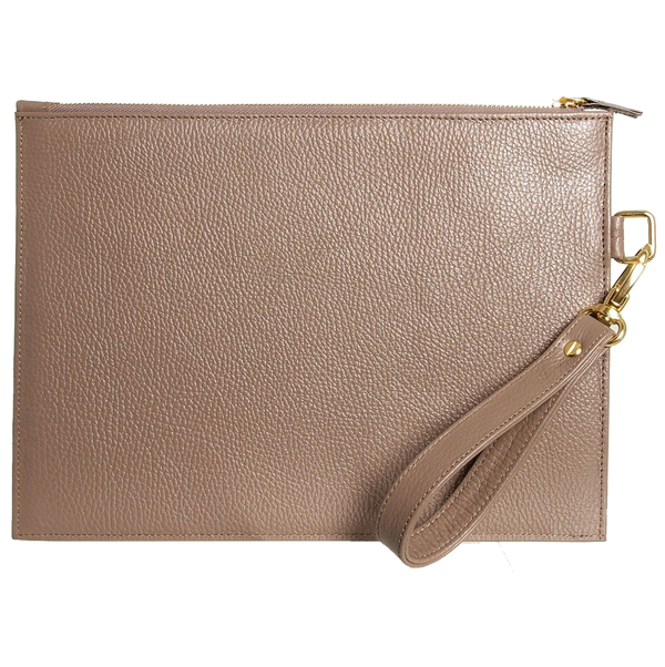 Grained Leather Folio Taupe