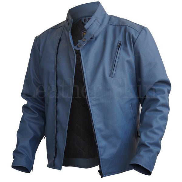 Men Gray Faux Leather Jacket