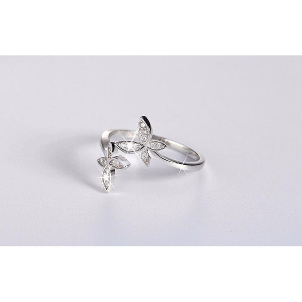 Adjustable Sterling Silver Ring with Cubic Zirconia