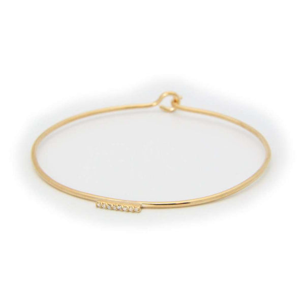 Thin CZ Flash Golden Bar Bangle