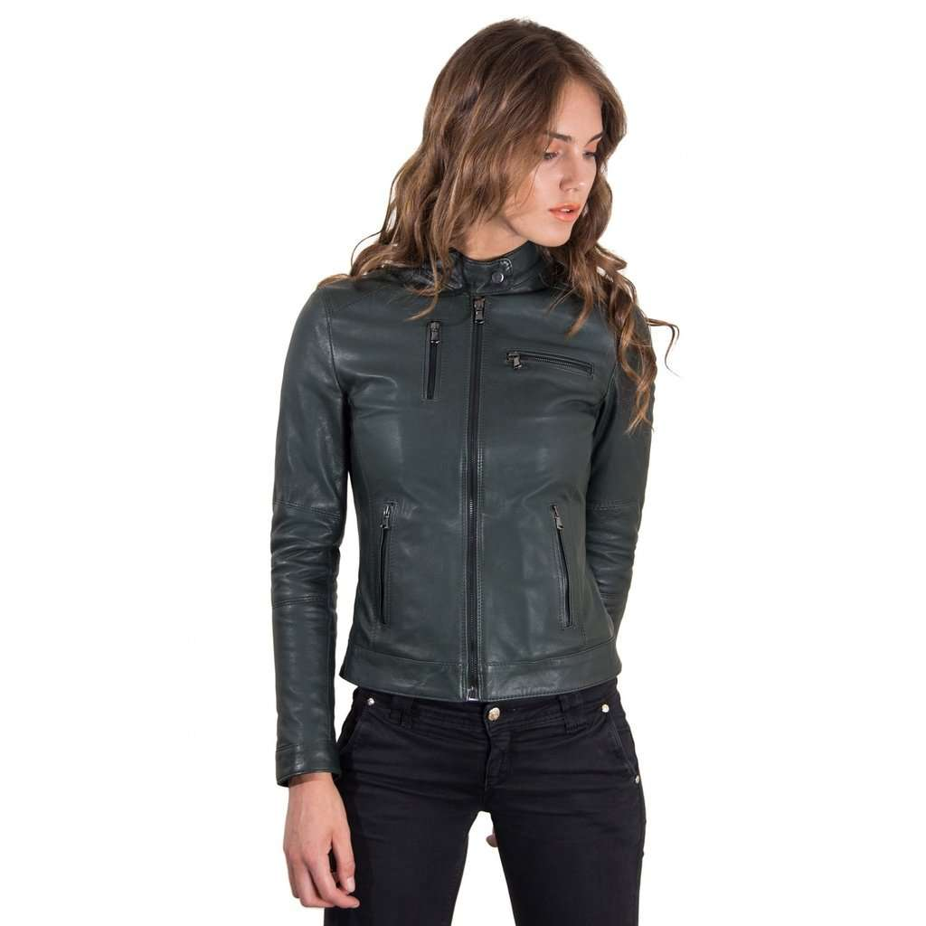 ad377b2ad36e Women's Leather Jacket genuine soft leather biker korean collar green color  Giulia