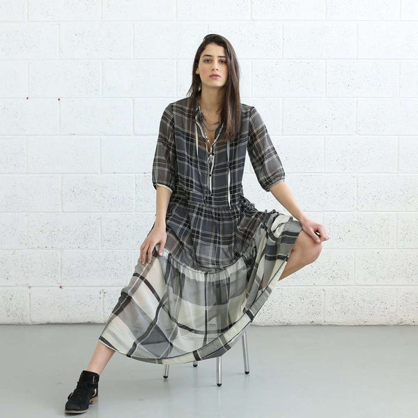 Sheer Plaids Maxi dress