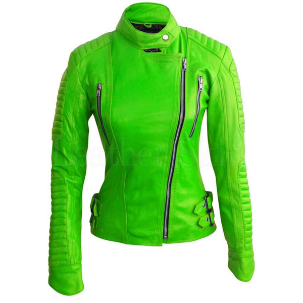 Women Parrot Green Padded Leather Jacket