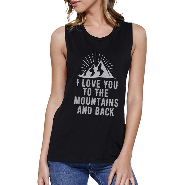 Mountain And Back Womens Black Round Neck Cute Design Tank Top