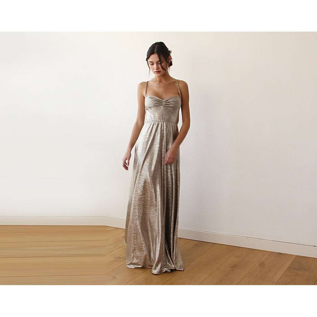 Dark Gold Metallic Ballerina Maxi Dress 1064