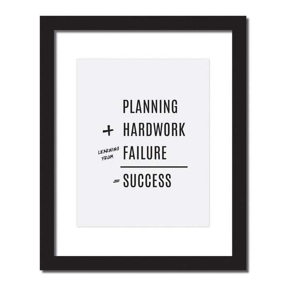 'Planning+Hardwork+learning from failure = Success' Inspirational quote print