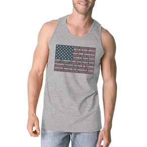 50 States Us Flag Mens Grey Tank Top Funny 4th Of July Cotton Tank