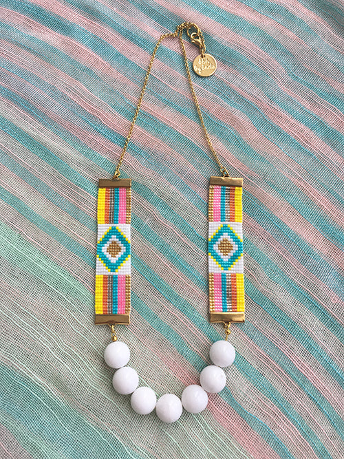 Rainbow Woven Beaded Necklace