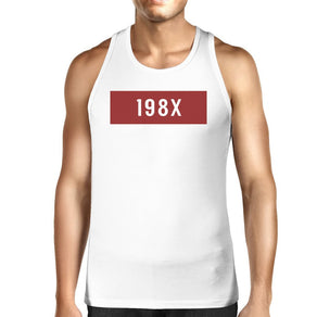 198X Men's White Cotton Tanks Funny Graphic Design Tank Top For Him