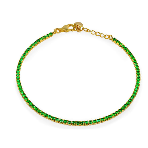 Mini Ambition Green CZ Tennis Bracelet  Gold Plated Sterling Silver