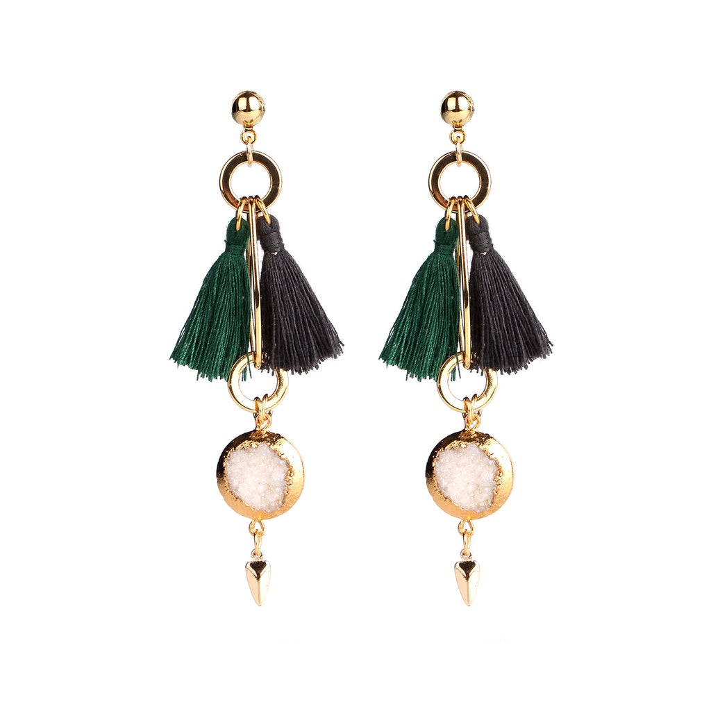 MAGNOLIA GREEN & BLACK TASSEL EARRINGS