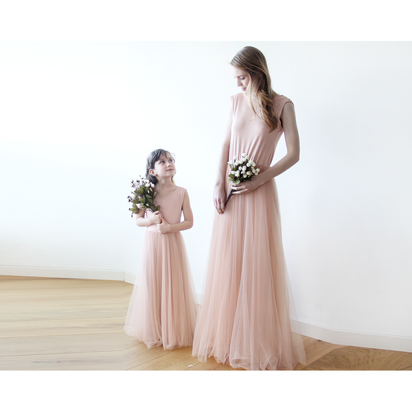Blush Pink Backless Tulle Maxi Dress 1086