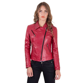 Women's Leather Jacket biker shirt collar cross zip red color KBC