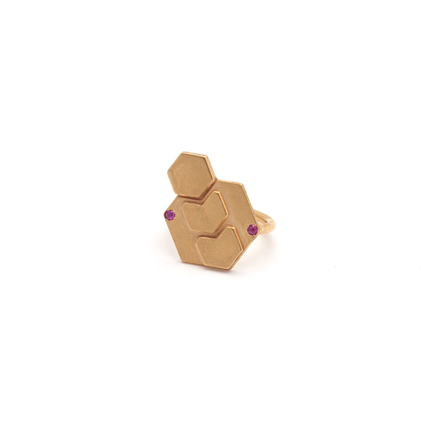 Hexagon Ring- Gold & Ruby