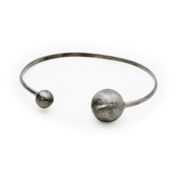 Black Satin Globes Cuff Bangle