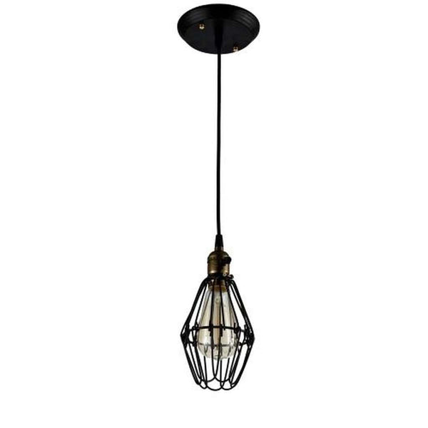 Wire Ceiling Pendant Light - Bulb Included, Matte Black/Antique Brass