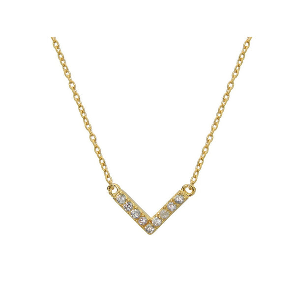 "Gold Plated Sterling Silver CZ ""V"" Design Chevron Necklace"