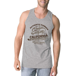 Authentic Summer Surfing California Mens Grey Tank Top