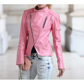 Women Pink Handmade Leather Jacket