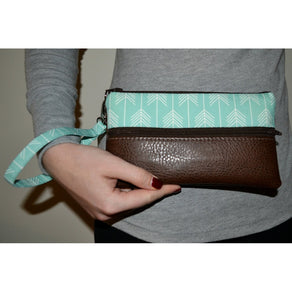 Ainsley Wristlet - Mint Arrow with Dark Brown Vegan Leather