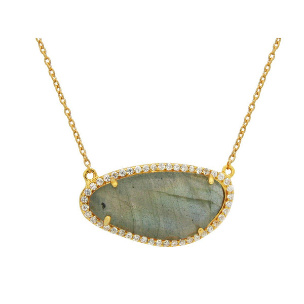 Gold Plated Sterling Silver Natural Labradorite Slice Pendant Necklace, 16""