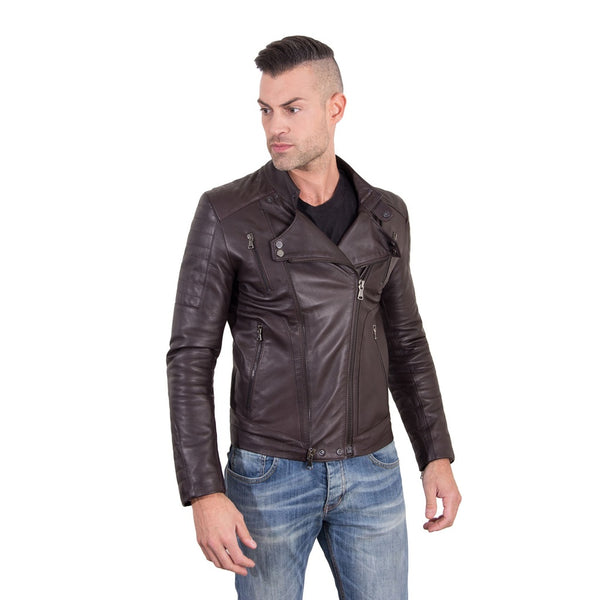 Men's Leather biker Jacket leather biker quilted yoke brown color Kevin