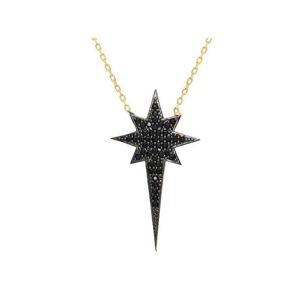 "Silver Gold Plated 1.25"" North Star  Black Cz Pendant  16"" + 2"" Necklace"