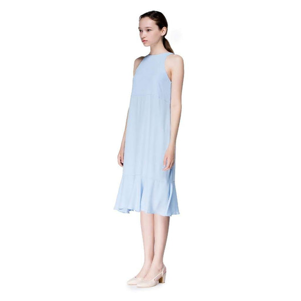 Round Neck Long Flounced Dress