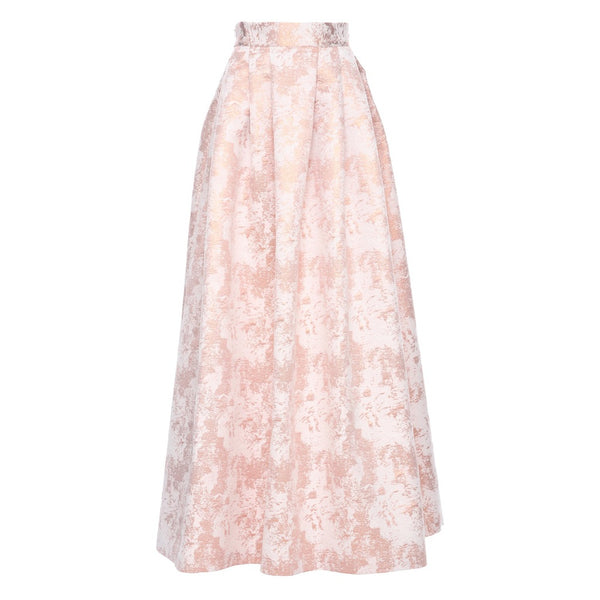 Nour Structured Pleated Maxi Skirt In Cosmetic Rose Gold