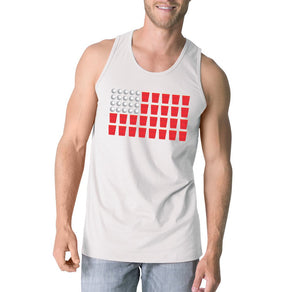 Beer Pong Flag Mens White Cotton Tank Top Funny 4th Of July Gift