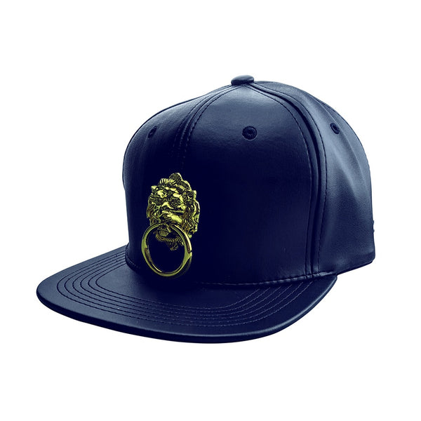 Navy Blue Faux Leather Snapback Hat