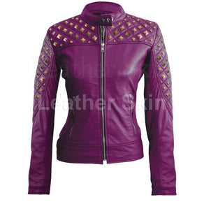 Women Purple Quilted Stud Leather Jacket