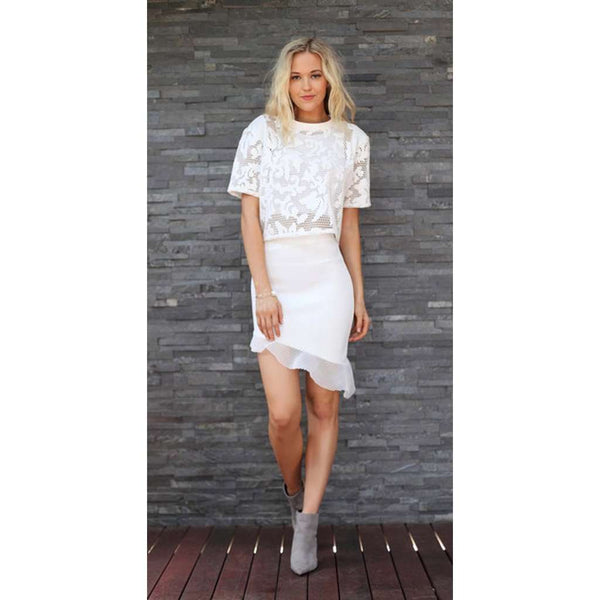 TING-A-LING Asymmetrical Skirt - White