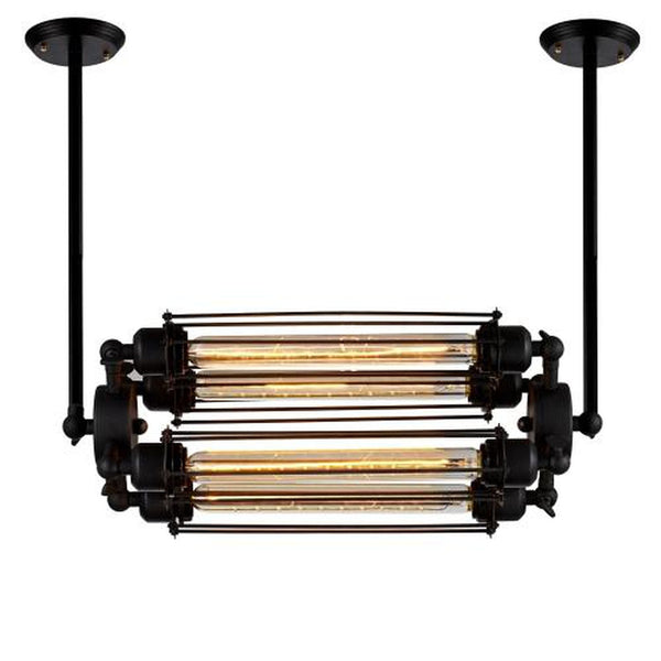 Edison Caged Horizontal Pendant Light with 4 Bulbs Included, Matte Black/Iron