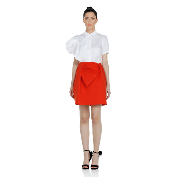 Cotton Shirt With A Shoulder Bow Detail