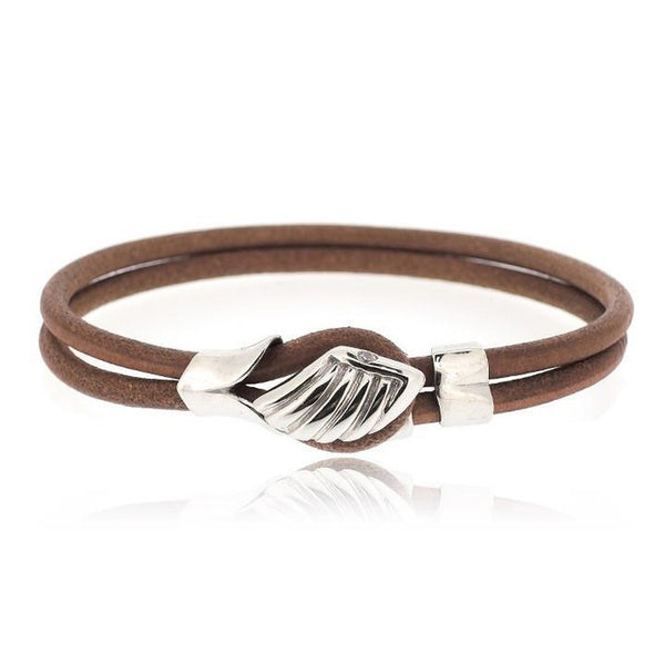 BROWN ANGEL WING LEATHER BRACELET