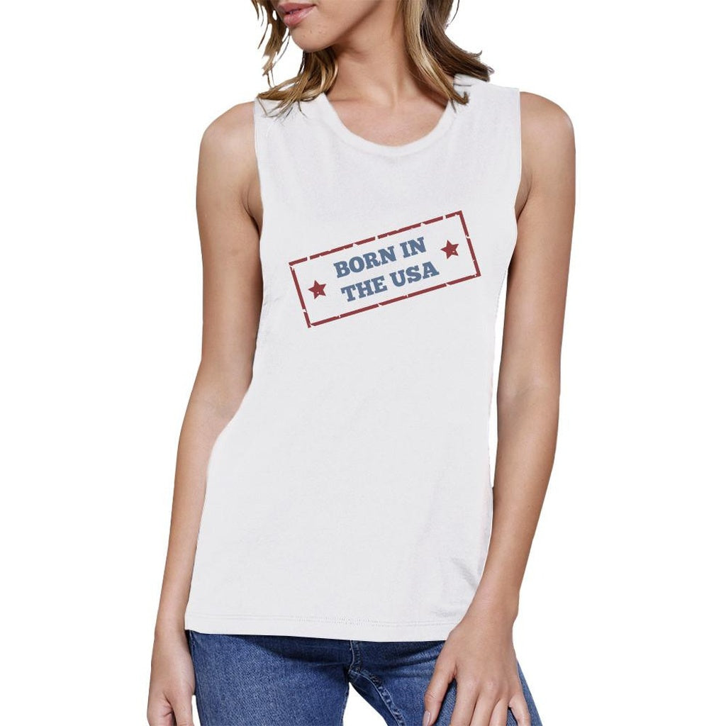 Born In The USA White Round Neck Graphic Muscle Tank Top For Women