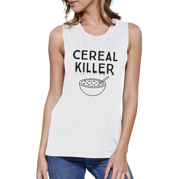 Cereal Killer Womens White Muscle Top