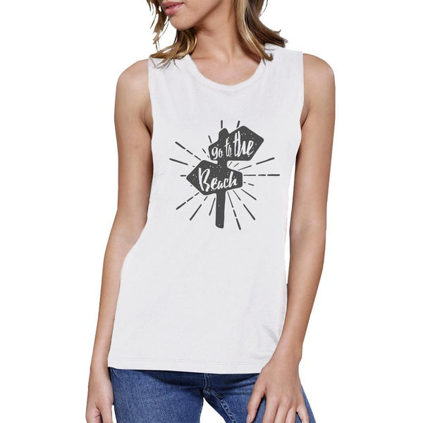 Go To The Beach Womens White Muscle Top