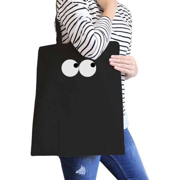 Eye Emoji Black Canvas Bag For School Graphic Printed Tote Bags