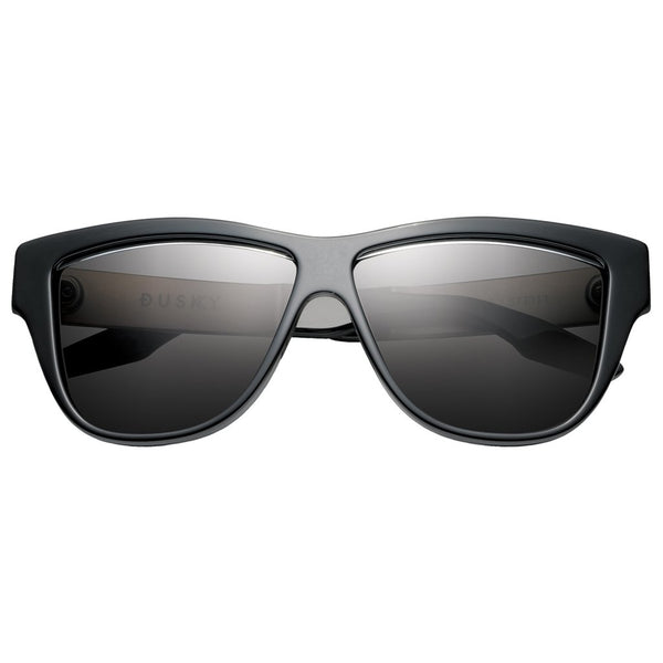 Dusky: Polished Black - Brushed Aluminum / Grey Lens