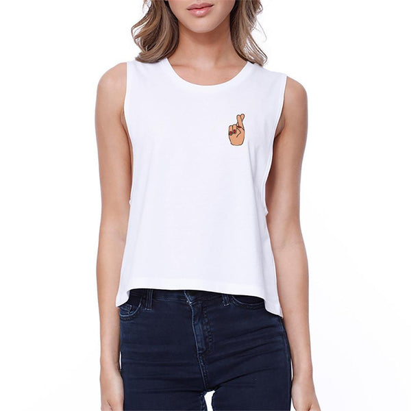 Cross Finger Pocket Crop Tee Cute Sleeveless Shirt Junior Tank Top