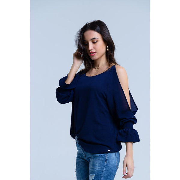 Open shoulders long sleeve navy blouse