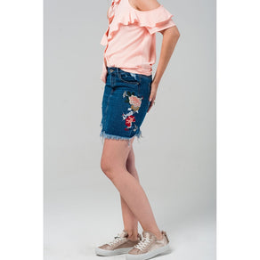 Denim mini skirt with embroidered flowers