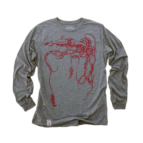 The Giant Squid: Tri-Blend Long Sleeve T-Shirt in Heather Grey w/ Red ink